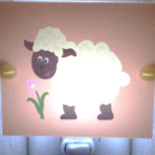 SALE Sheep Caricature LED Night Light Perfect for Nursery Hand Made Free Ship