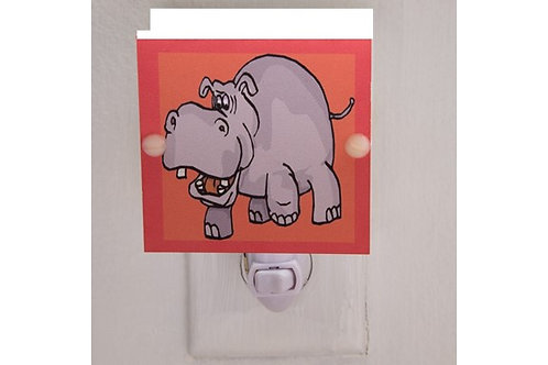 SALE Hippo Night Light on Red Background Hand Made with LED & Free Ship