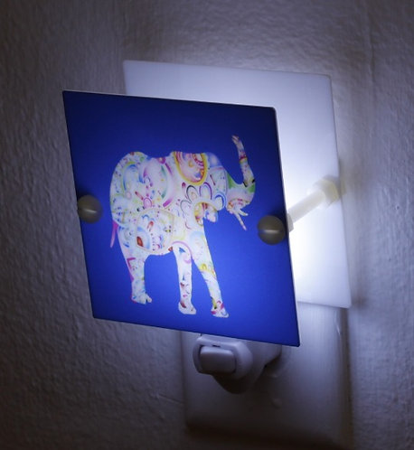 Multi Color Artistic Elephant Night Light Square Plastic LED