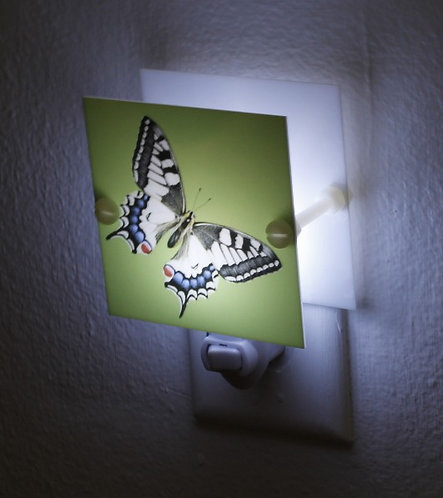 Vibrant Green Butterfly Night Light Hand Made Plastic LED