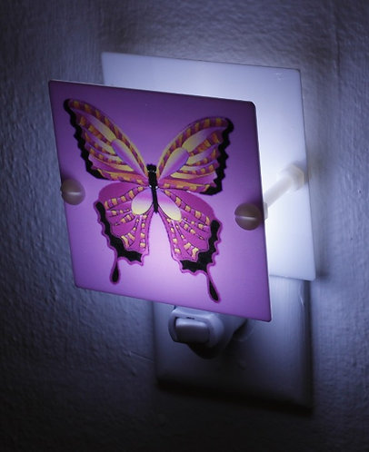 "Vibrant Purple Butterfly 4"" Night Light Hand Made Free Shipping"