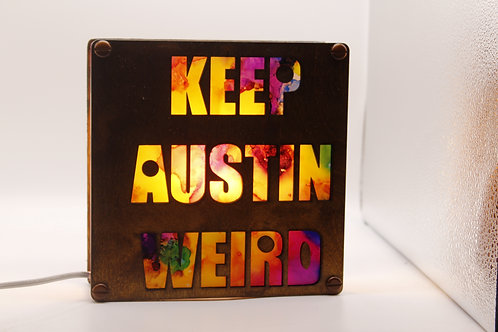 Keep Austin Weird Wood Laser Cut Lamp Decorated With Alcohol Ink