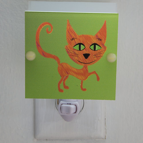 Yellow Cheshire Cat Caricature on Green Background Night Light Free Shipping