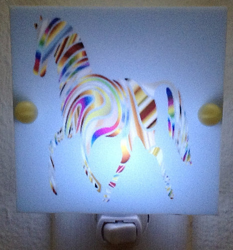 Rainbow Blue Horse Night Light Hand Made with LED Bulb Free Shipping