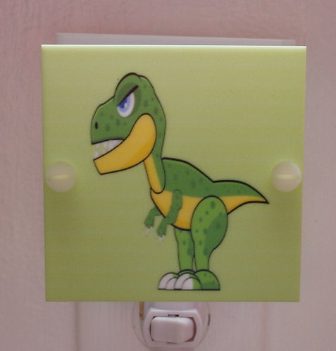 Green Dinosaur Caricature Hand Made Night Light With LED Fixture and Free Ship
