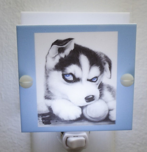 Blue Eyed Siberian Husky Puppy Night Light Hand Made with LED and Free Shipping