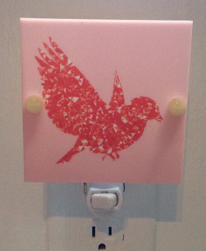 Red Bird on Pink Background Night Light Hand Made with LED Bulb Free Shipping