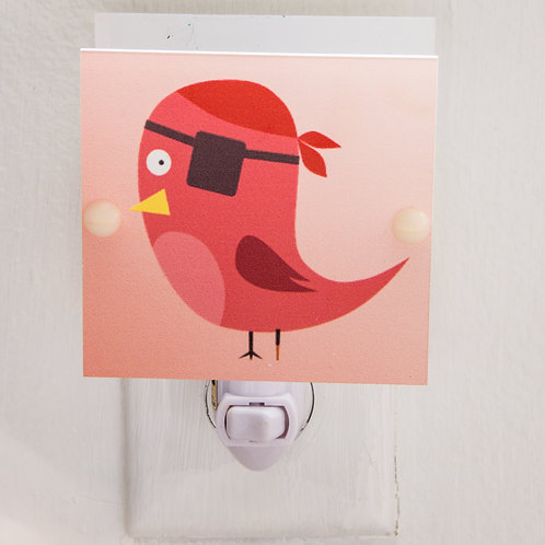 Red and Pink Bird with Pirate Eye Patch Night Light Free Shipping