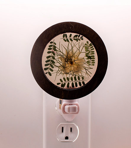 Decorative Wood LED Night Light with Natural, Pressed Flowers