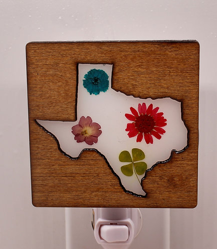 Texas Wood Decorative LED Night Light with Pressed, Natural Flowers