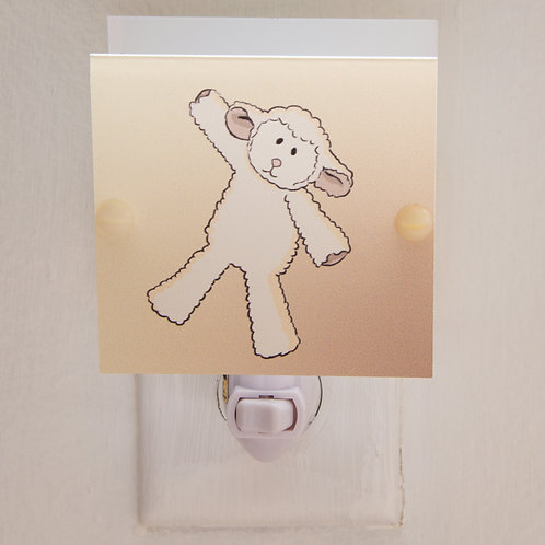 SALE Fluffy Lamb Night Light For Nursery Hand Made with LED Bulb & Free Ship