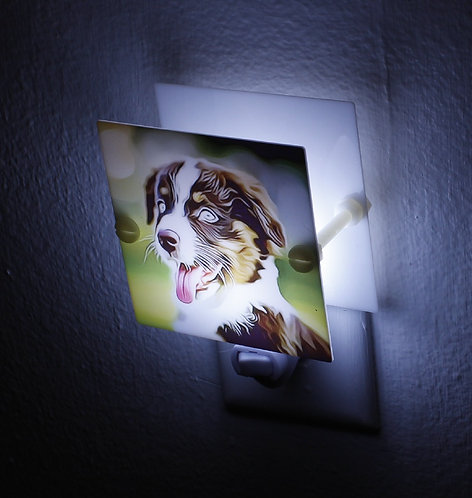 Australian Shepherd Puppy Night Light Plastic Hand Made with LED Free Shipping