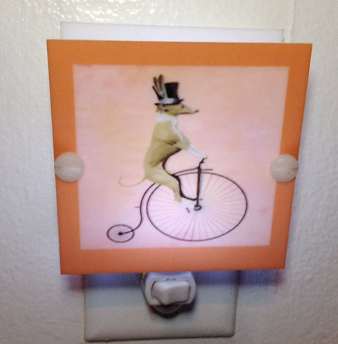 Greyhound Dog Riding a Bicycle Night Light Hand Made With LED & Free Shipping