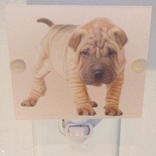 """Shar Pei Puppy Hand Made Night Light 4"""" Square with LED Bulb Free Ship"""