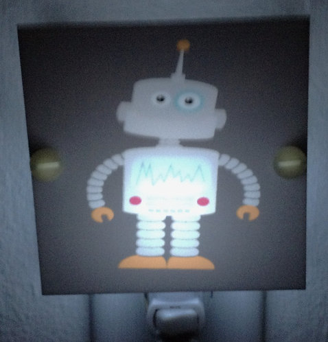 Quirky Gray Robot Night Light Hand Made with LED Bulb & Free Shipping