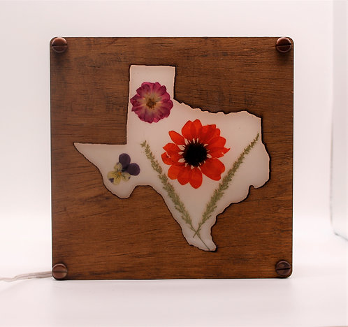 Texas Wood Decorative Lamp with Natural, Pressed Flowers