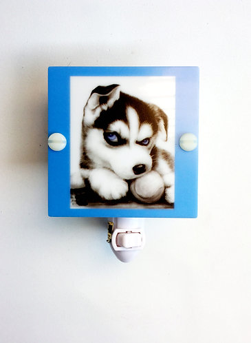 Siberian Husky Puppy Night Light Hand Made with LED and Free Shipping