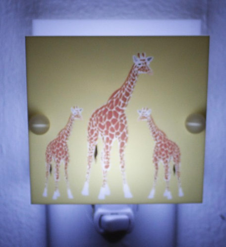 Giraffe Mom & Babies Night Light Hand Made With LED & Free Shipping