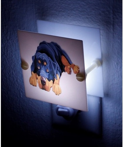 "Rottweiler Night Light 4"" Square Plastic Hand Made Free Shipping"