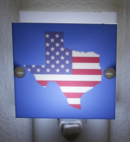 Texas Flag Patriotic Night Light Red White Blue Hand Made with LED and Free Ship