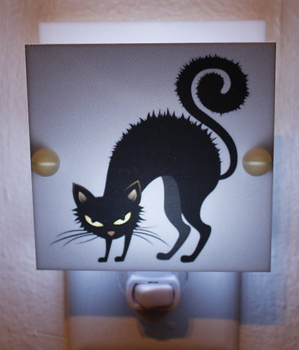 Black and Gray Cat Hand Made Night Light with LED and Free Shipping