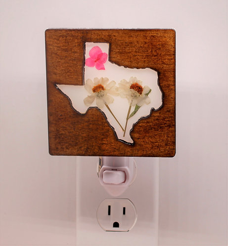 Wood Texas Decorative LED Night Light With Pressed, Natural Flowers