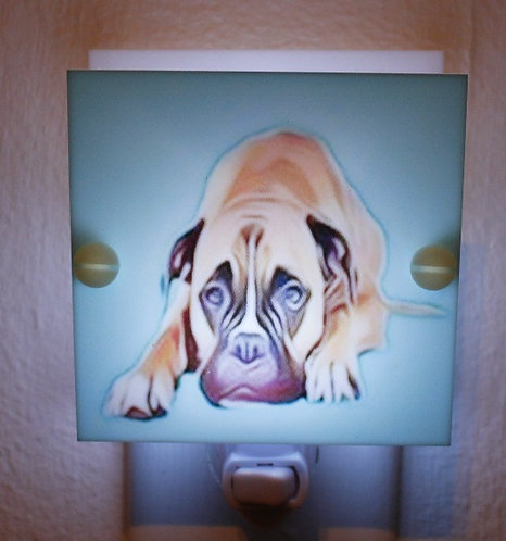 Boxer Hand Made Night Light Tan and Blue Colors With LED Fixture and Free Ship