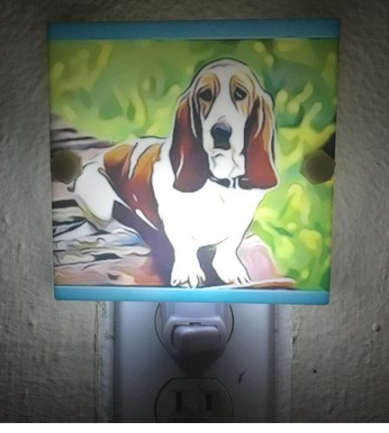 Basset Hound Night Light Colorful caricature.  Plastic with LED and Free Shippin