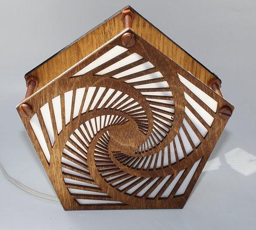 Pentagram Wood Table Lamp Laser Cut Tabletop or Hanging