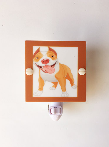 Silly Brown Pit Bull Caricature Night Light Hand Made Plastic LED