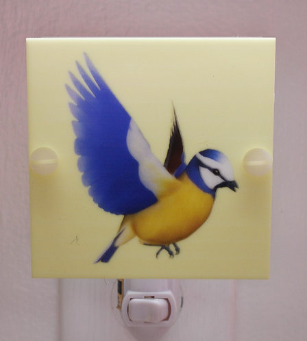 Yellow & Blue Bird Hand Made Night Light With LED Fixture and free shipping