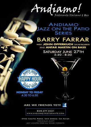 Barry Farrar live this Saturday at Andiamo