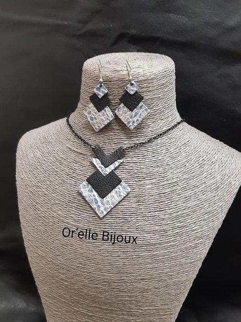 PARURE CUIR CLEU COLLIER ET BOUCLES