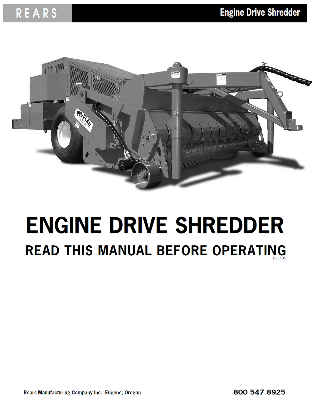 Rears Engine Drive Shredder Manual