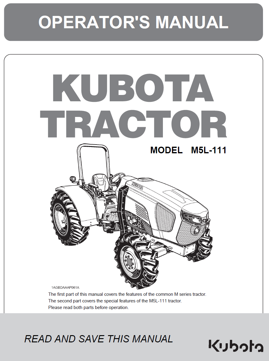 Kubota M5L-111 Operator's Manual | Garton Tractor | California | Kubota &  New Holland Tractors Equipment