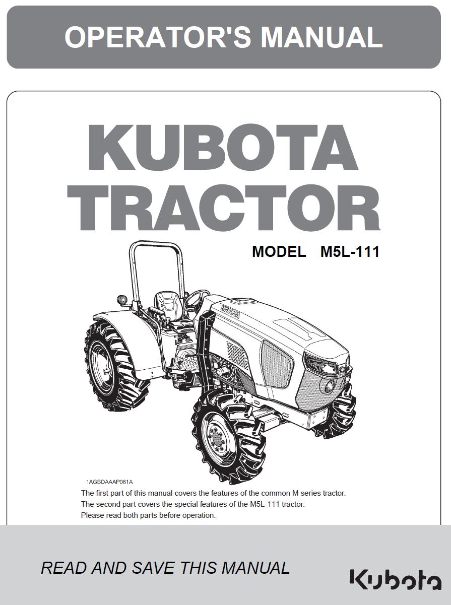 Kubota M5L-111 Operator's Manual