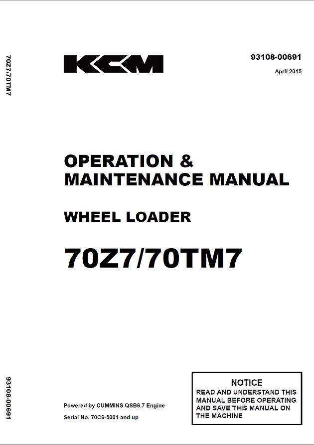 KCM 70z7 Operators Manual | Garton Tractor | California | Kubota