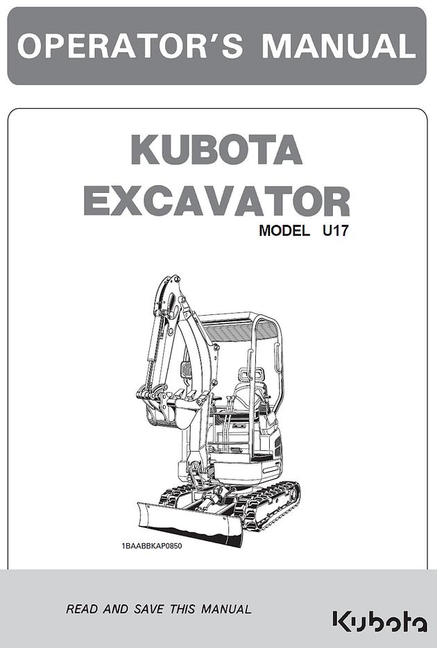 Kubota U17 Excavator Operator's Manual | California | Garton Tractor