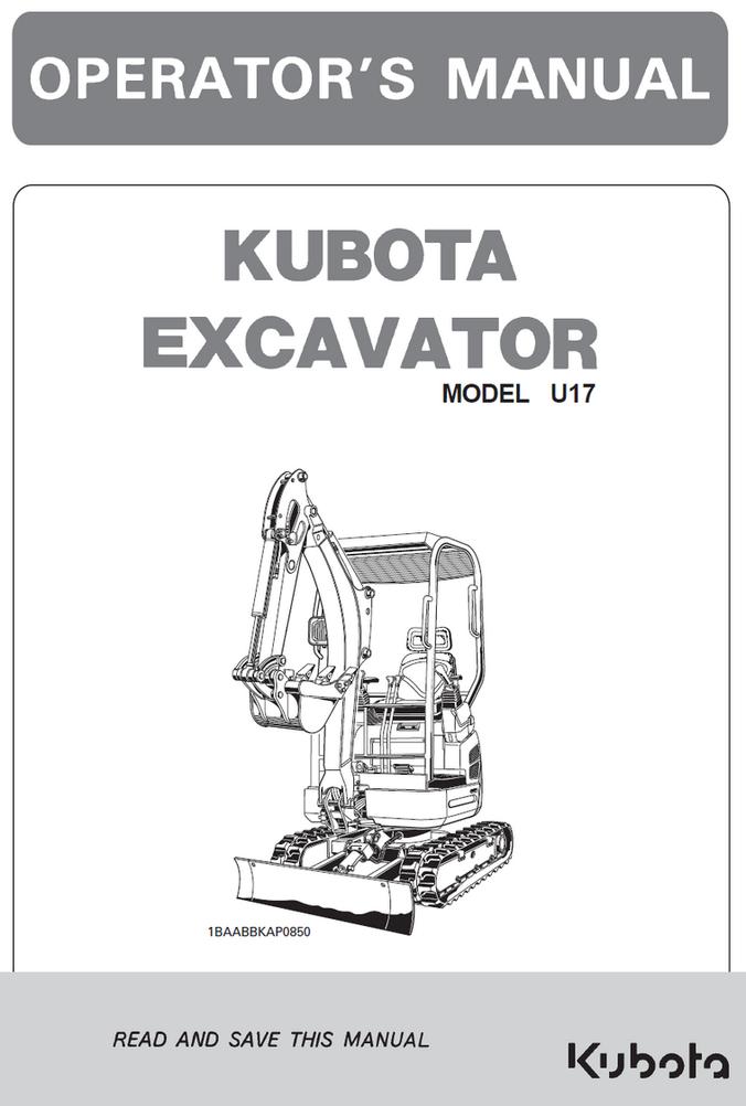 Kubota U17 Excavator Operator's Manual