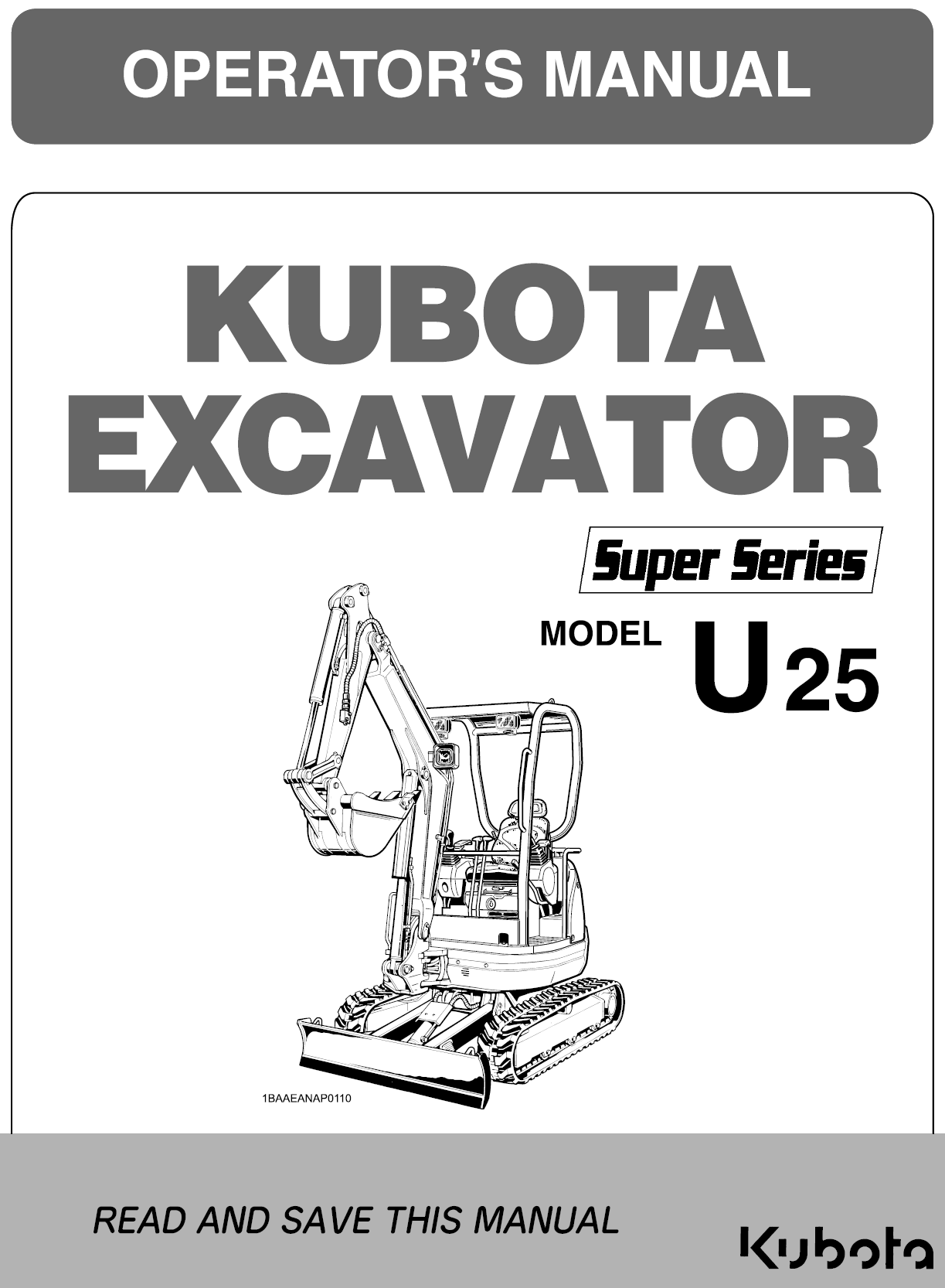Kubota U25 - Super Series Operator's Manual | Garton Tractor | California |  Kubota & New Holland Tractors Equipment