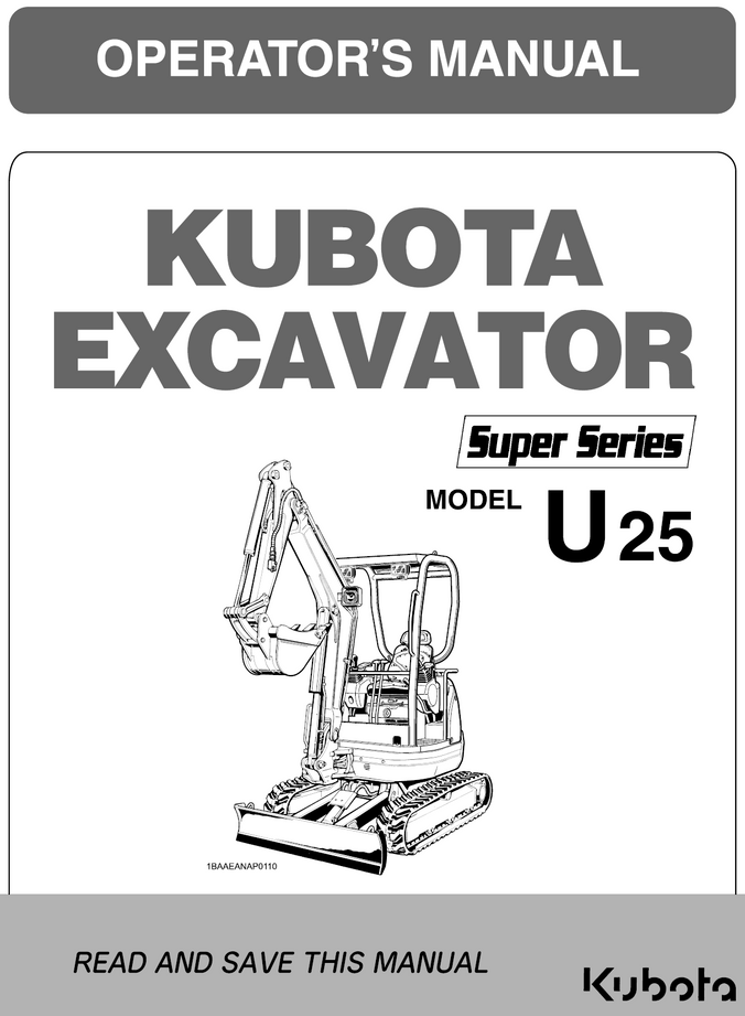 Kubota U25 - Super Series Operator's Manual