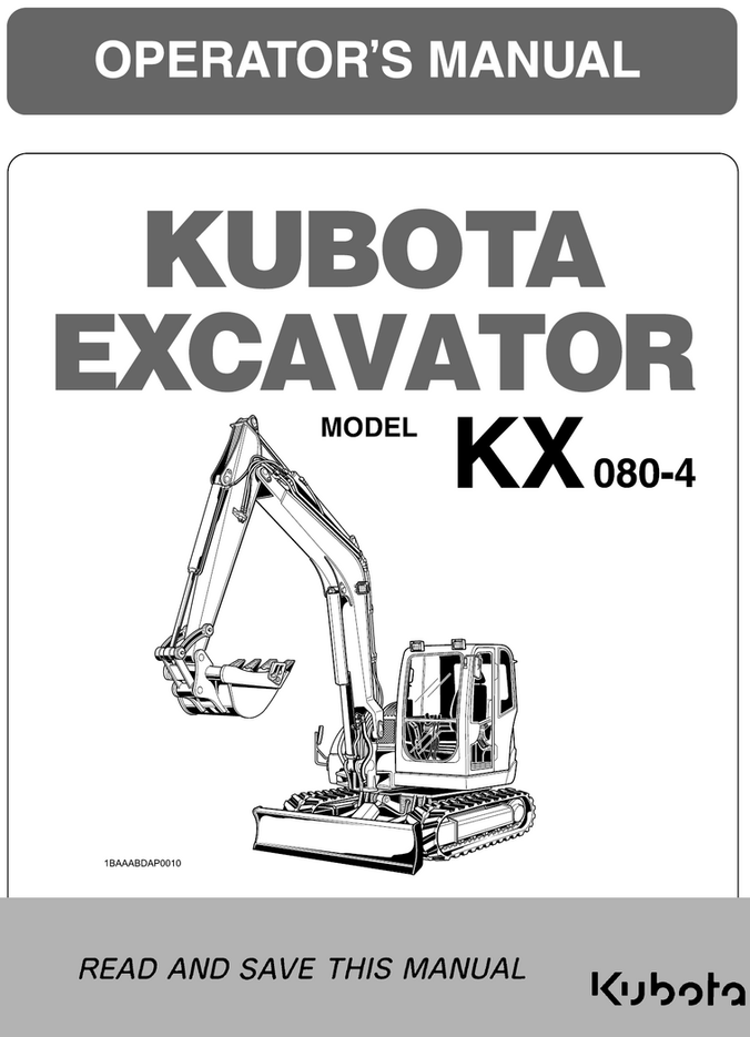 Kubota KX080-4 Operators Manual