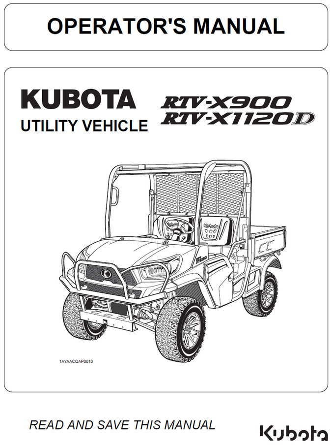 Kubota RTV-X900 and RTV-X1120D Operator's Manual