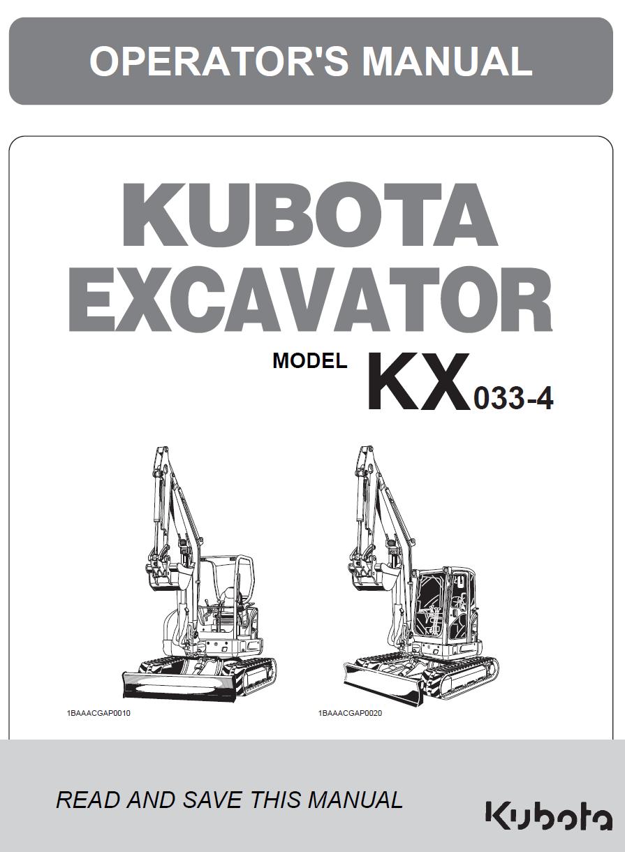 Kubota KX033-4 Excavator Operators Manual