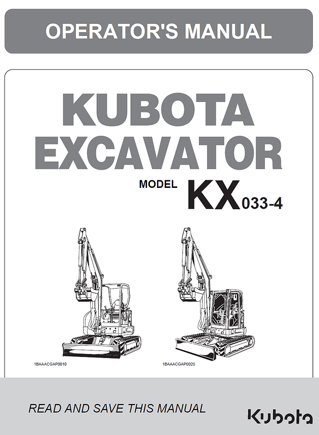 Kubota KX033-4 Excavator | Operators Manual | Garton Tractor