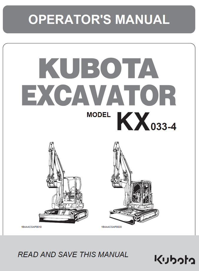Kubota KX033-4 Excavator Operators Manual
