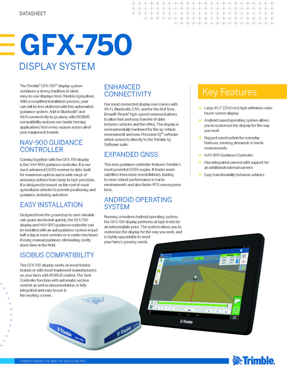 Trimble GFX 750 Display Info