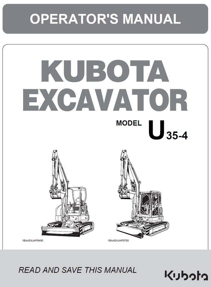 Kubota U35-4 Operator's Manual