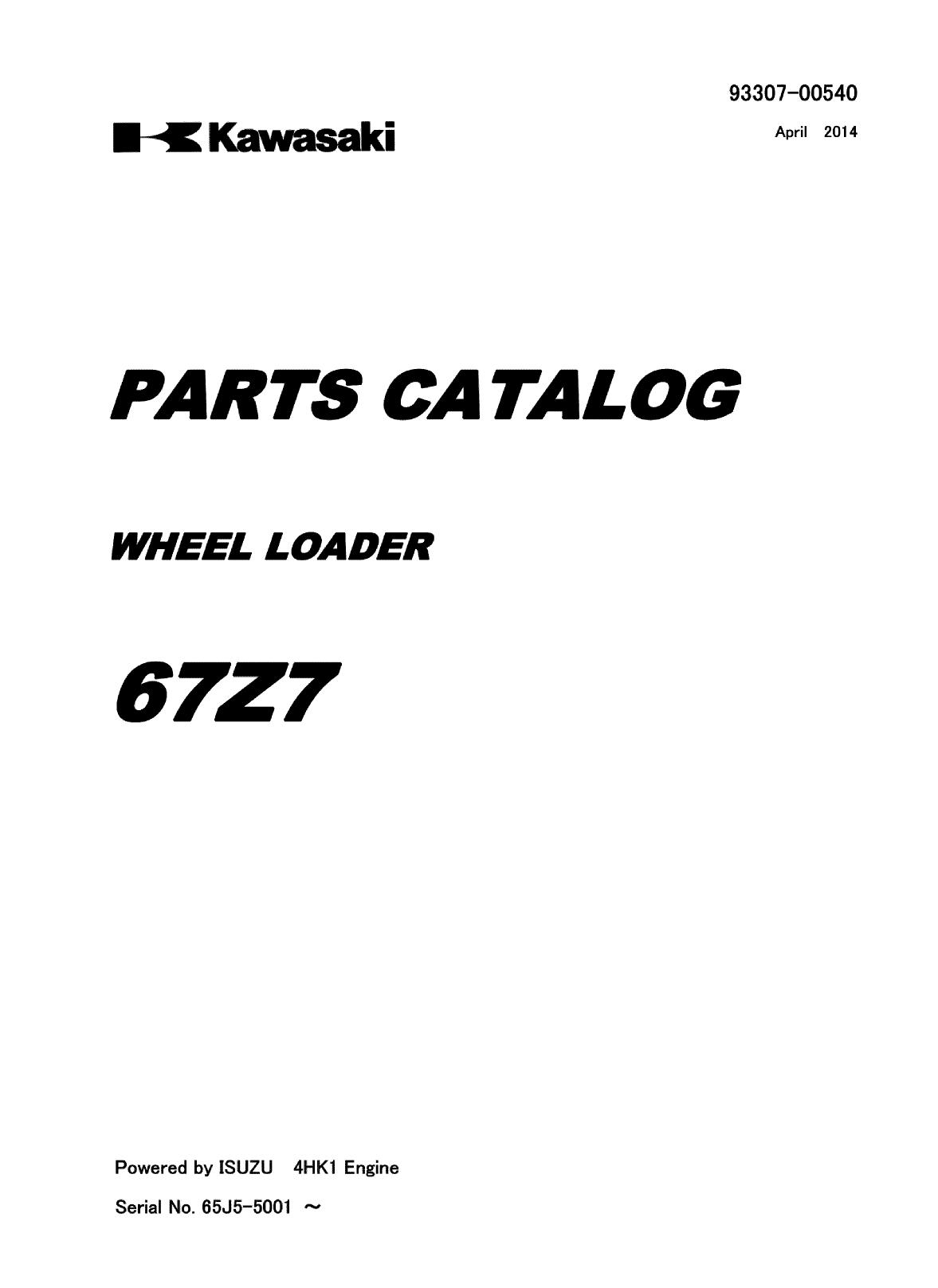 Kawasaki KCM 67Z7 Wheel Loader Parts Catalog   Garton Tractor   California    Kubota & New Holland Tractors Equipment