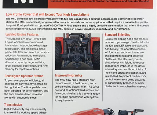 Introducing Kubota M6L-111 Low Profile Orchard Tractor